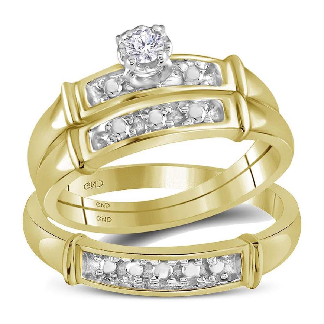 14k Yellow Gold His & Her Round Diamond Matching Bridal