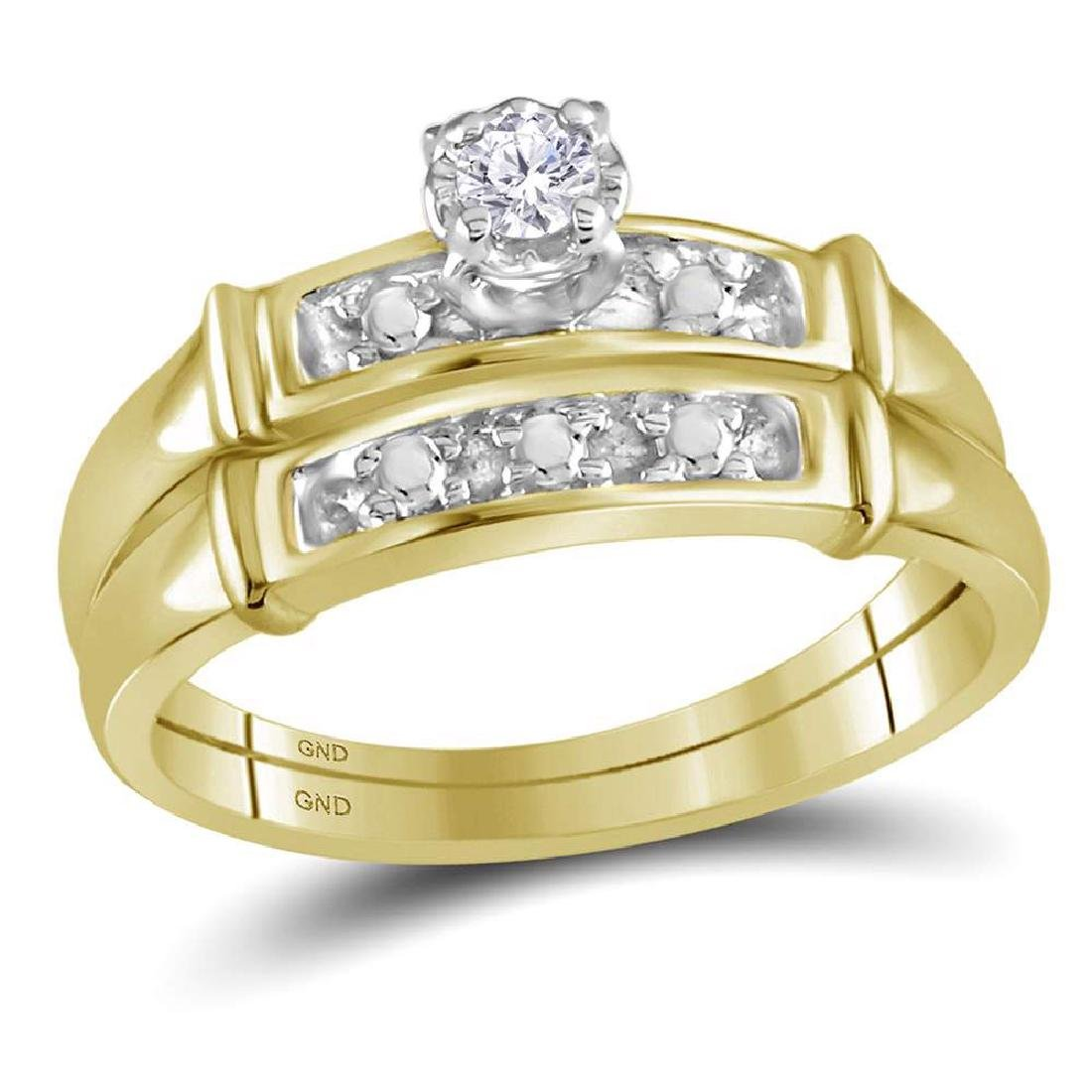 14k Yellow Gold His & Her Round Diamond Matching Bridal - 2