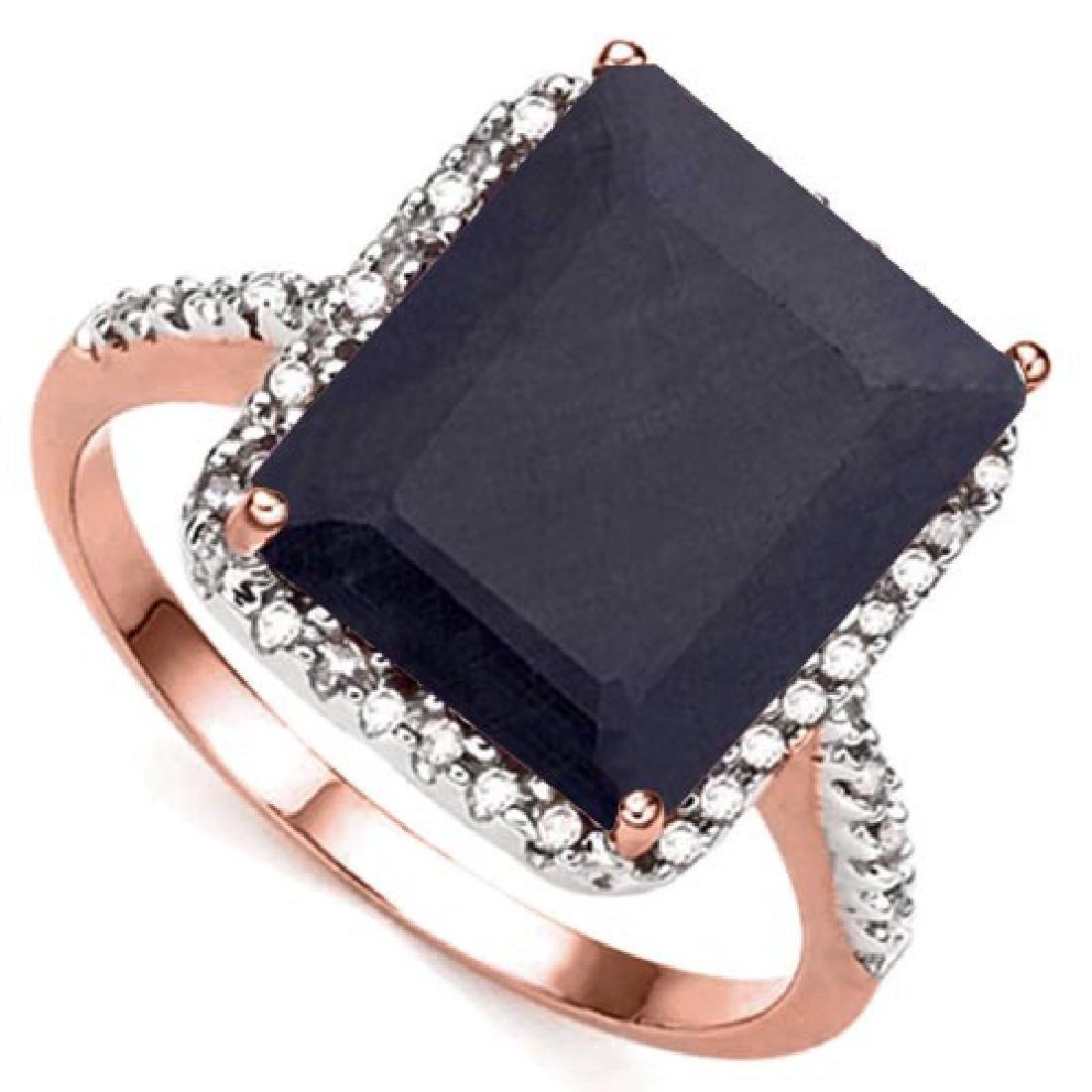 7.03 CTW BLACK SAPPHIRE & (22 PCS) DIAMOND 10KT SOLID R