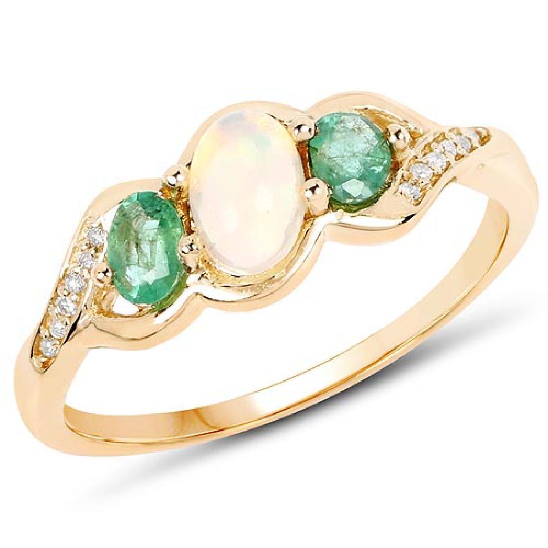 0.61 CTW Genuine Ethiopian Opal Zambian Emerald and Whi