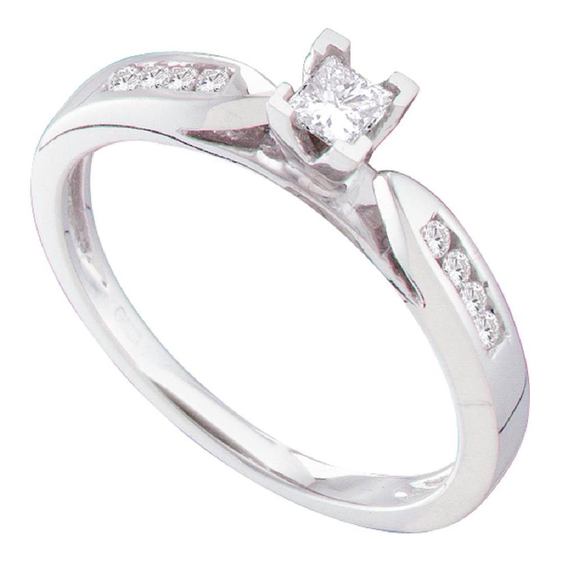 14k White Gold Princess Diamond Solitaire Bridal Weddin