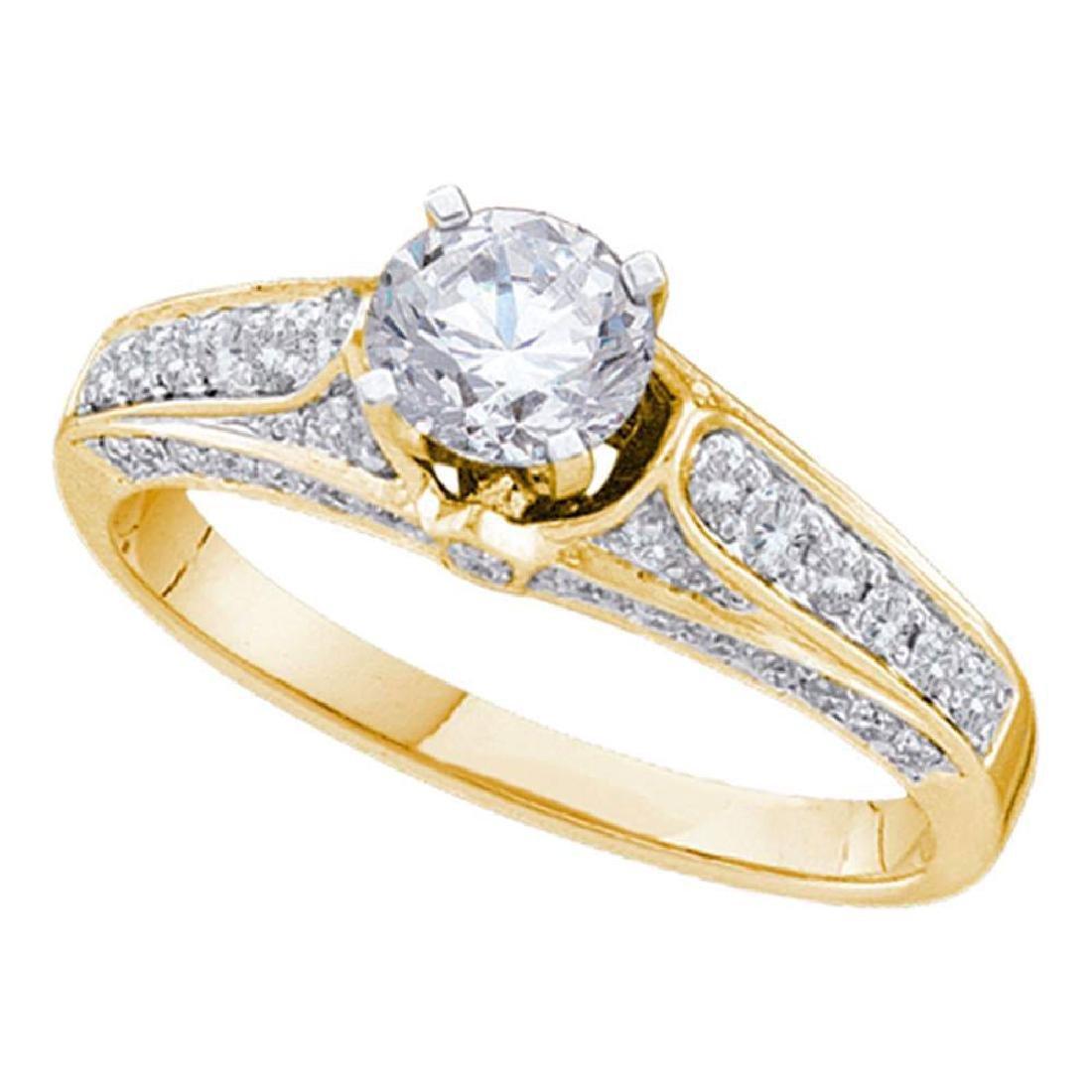 14k Yellow Gold Round Diamond Solitaire Bridal Wedding