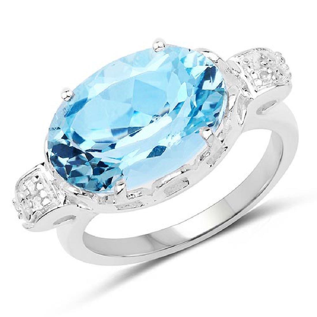 7.53 CTW Genuine Blue Topaz and White Diamond .925 Ster