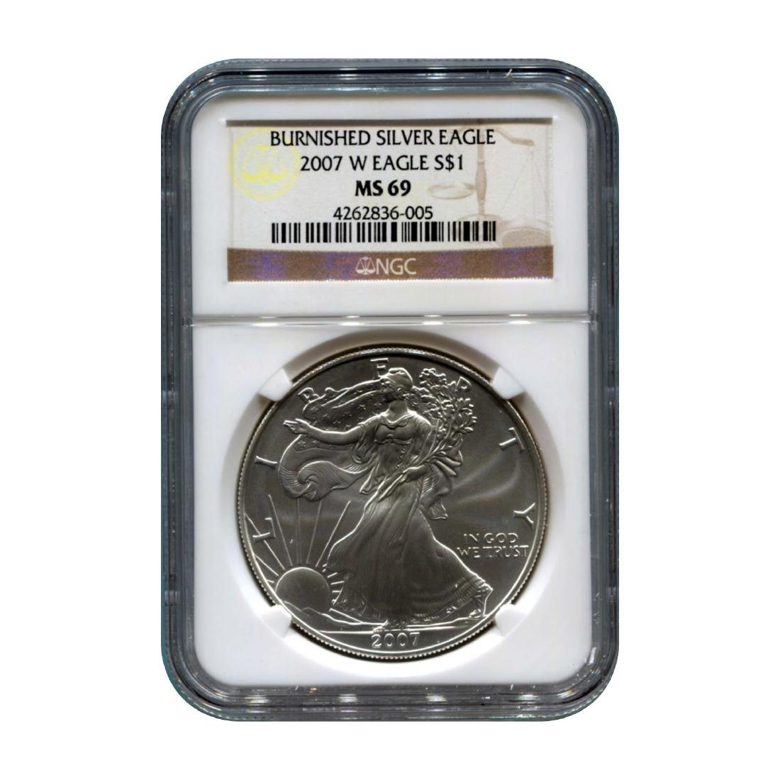 Burnished 2007-W Silver Eagle MS69 NGC