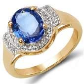 2.22 CTW Genuine Tanzanite Blue Sapphire & White Diamon