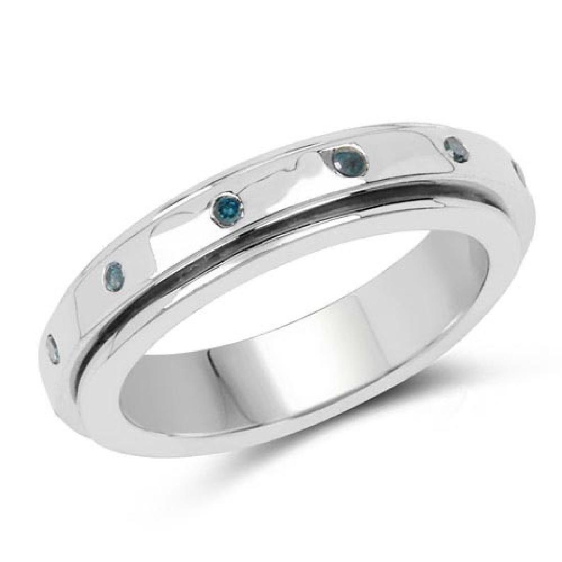 0.14 CTW Genuine Blue Diamond .925 Sterling Silver Ring