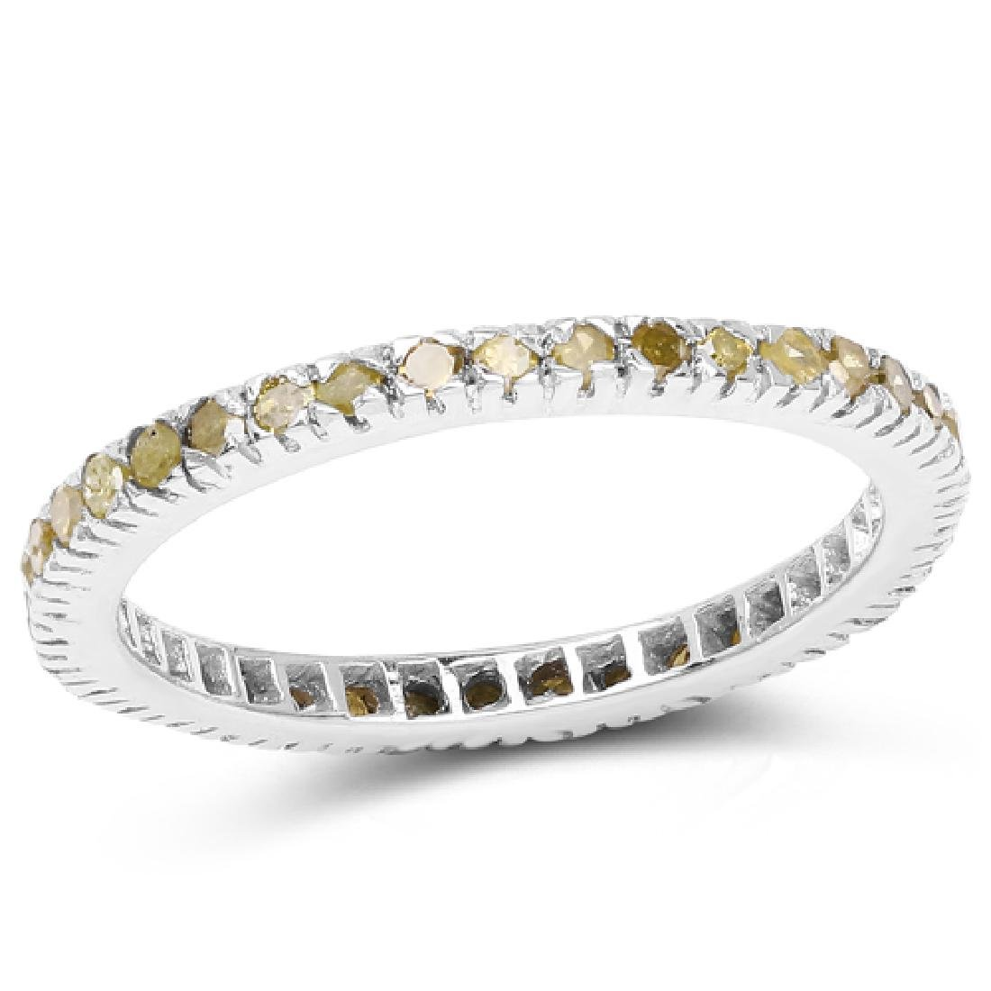 0.57 CTW Genuine Yellow Diamond .925 Sterling Silver Ri