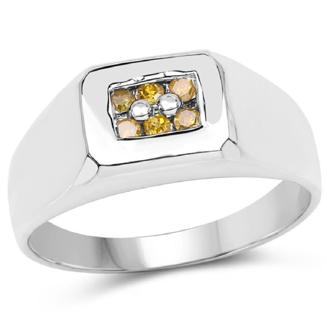 0.14 CTW Genuine Yellow Diamond .925 Sterling Silver Ri