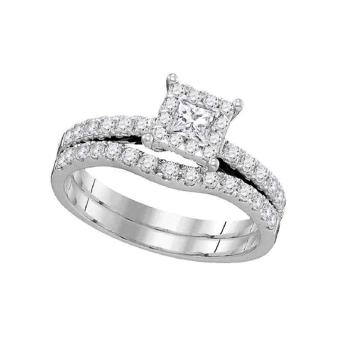 14K White Gold Princess Diamond Bridal Wedding Engageme