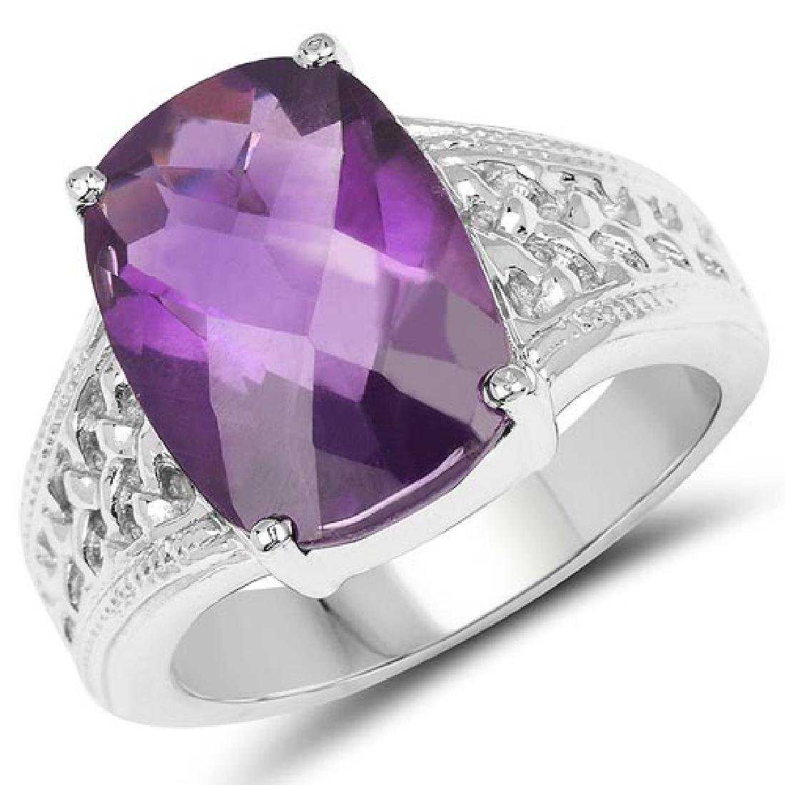 6.50 CTW Genuine Amethyst .925 Sterling Silver Ring