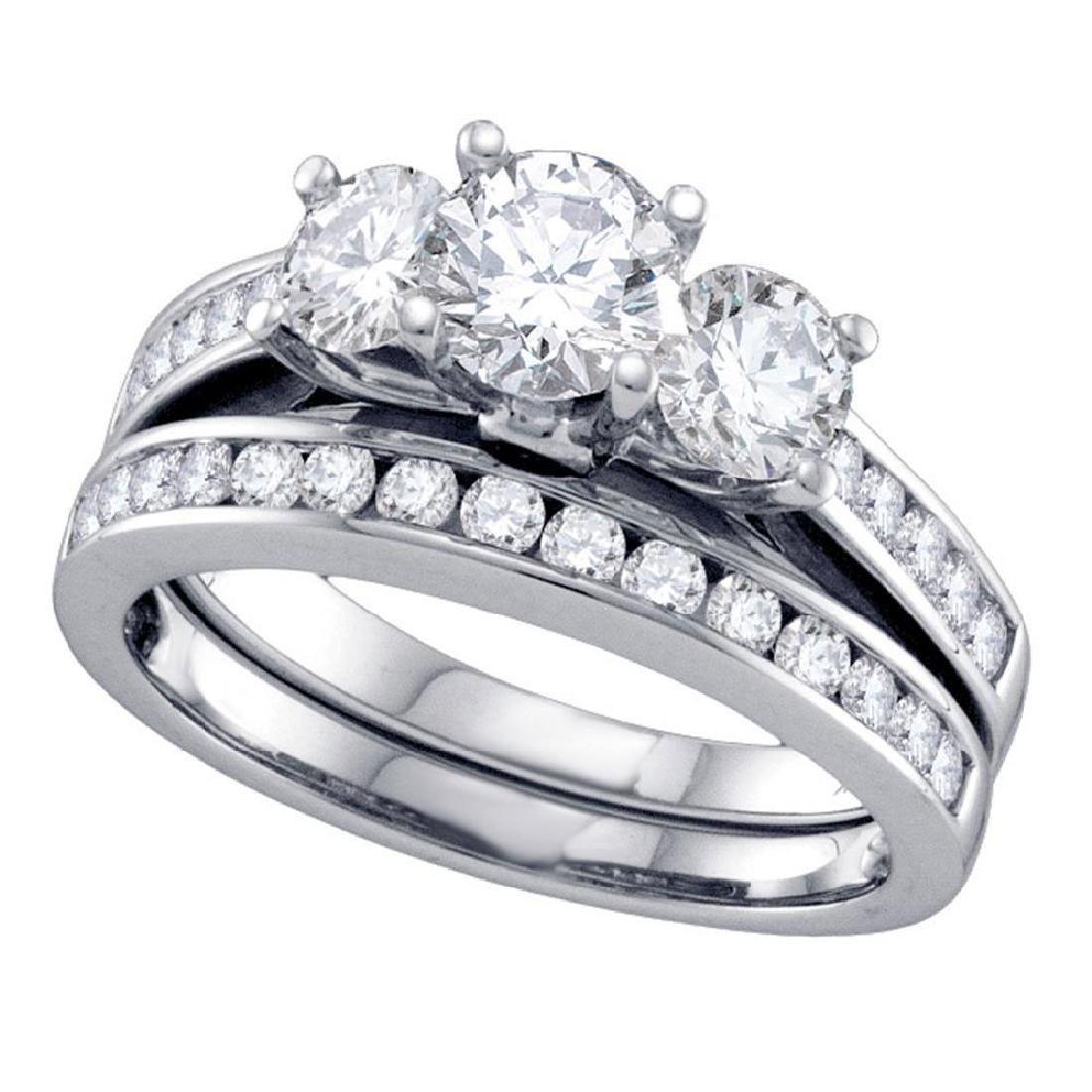 14k White Gold Round 3-Stone Diamond Bridal Wedding Eng