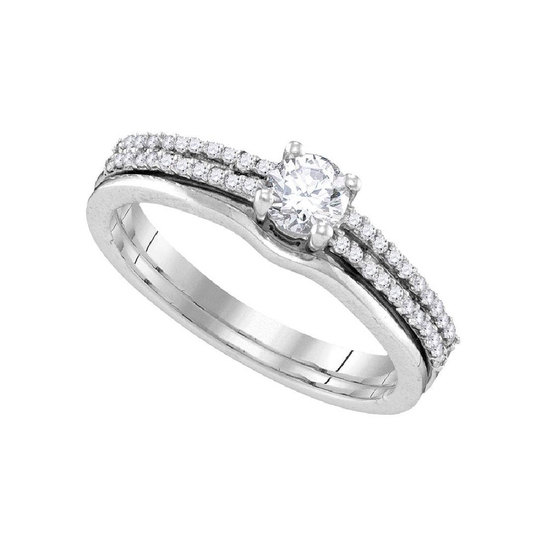 14k White Gold Round Diamond Slender Bridal Wedding Eng
