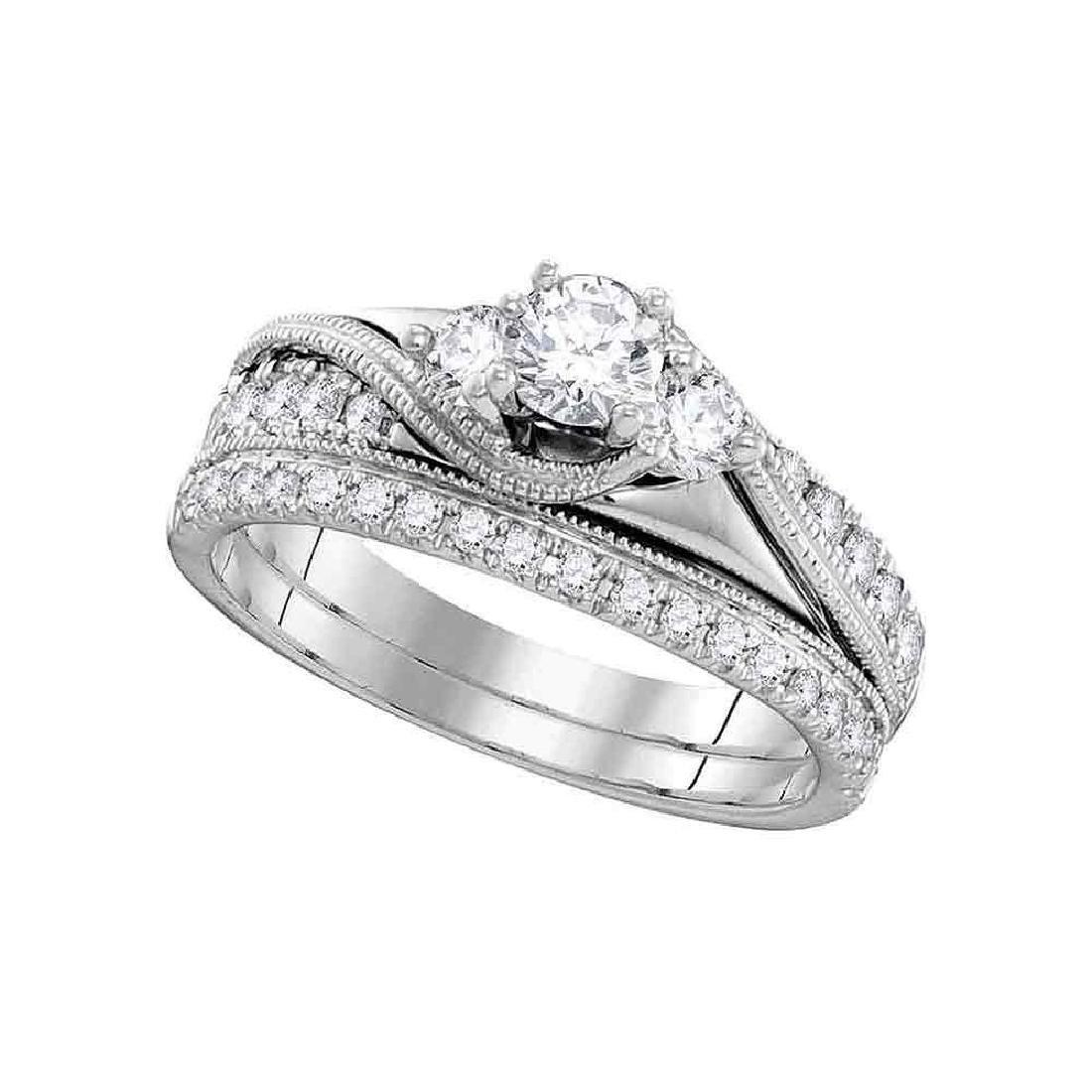 14k White Gold 3-Stone Diamond Bridal Wedding Engagemen