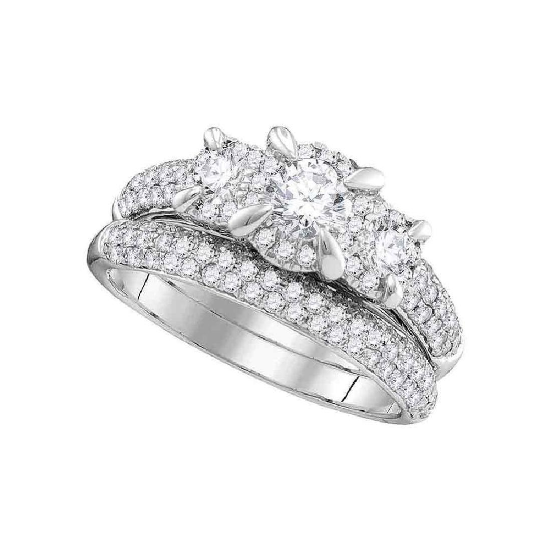 14k White Gold Round 3-stone Diamond Bridal Wedding Eng
