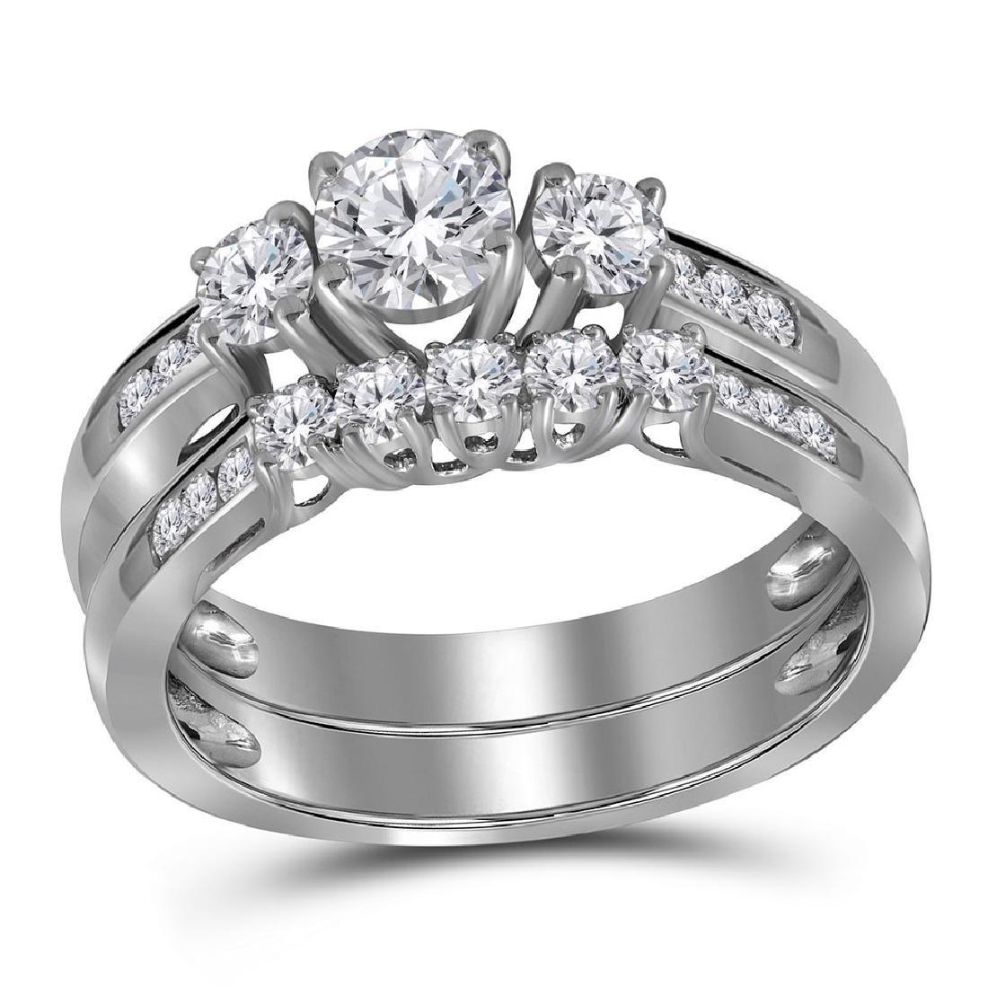 14K White Gold Round 3-Stone Diamond Womens Bridal Enga