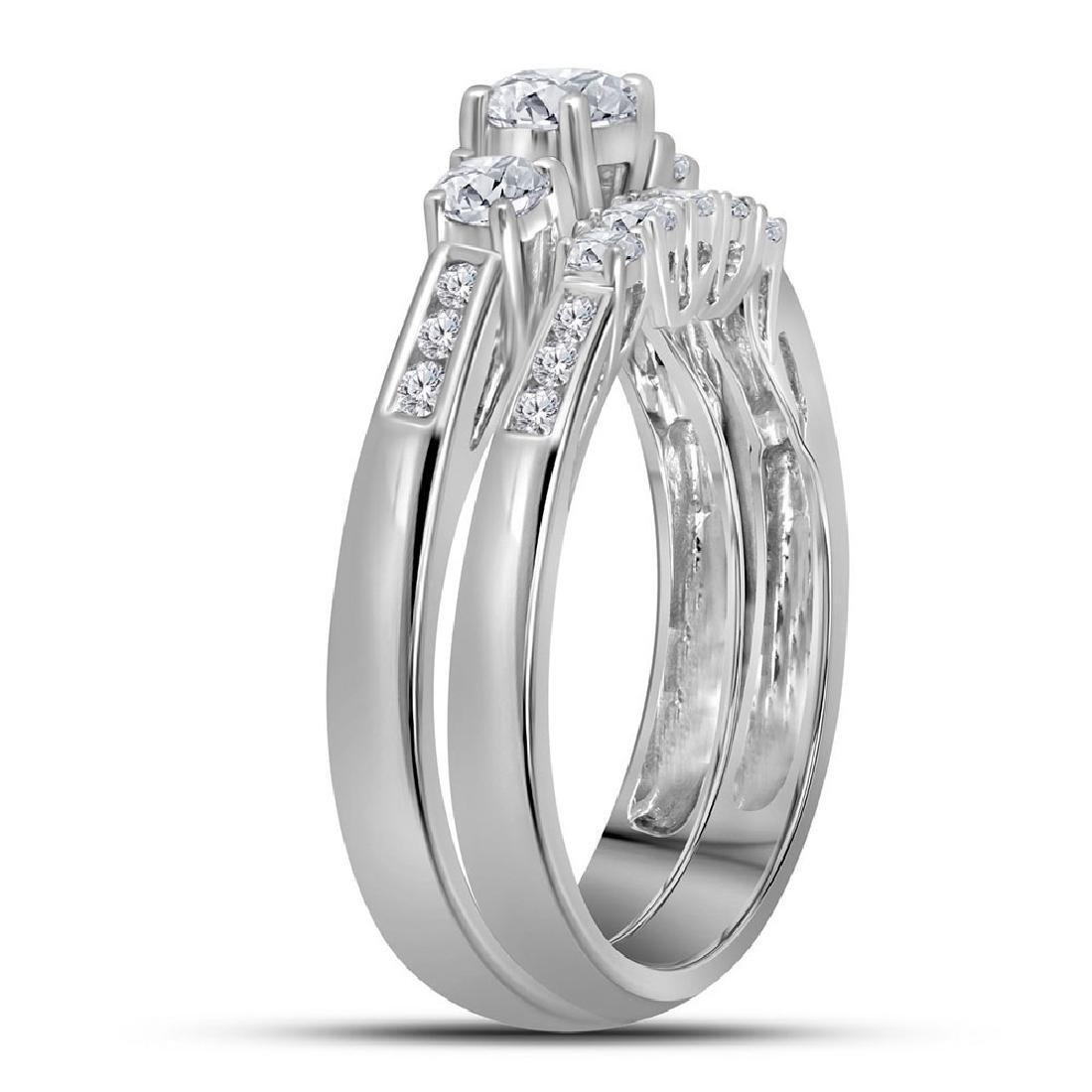14K White Gold Round 3-Stone Diamond Womens Bridal Enga - 2