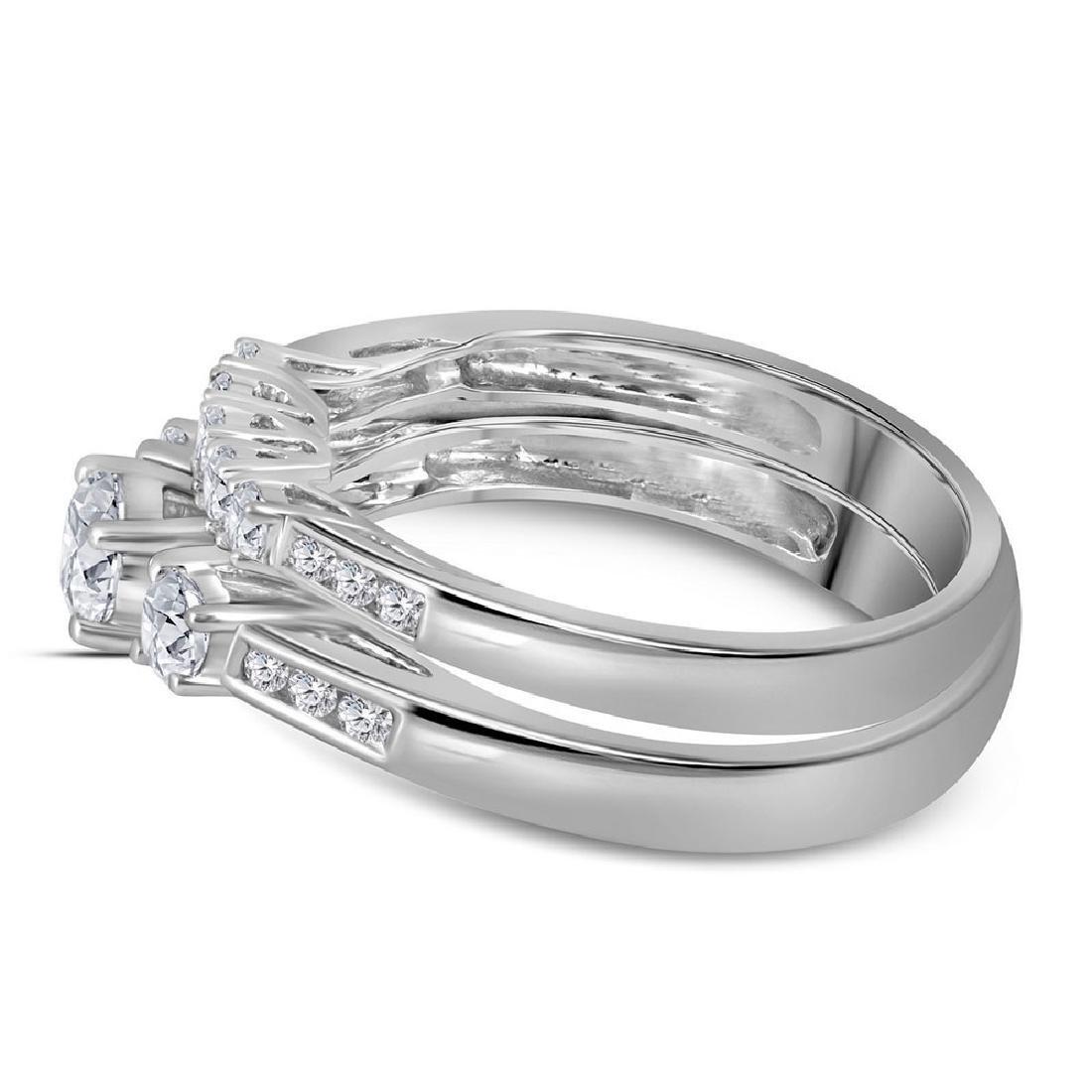14K White Gold Round 3-Stone Diamond Womens Bridal Enga - 3
