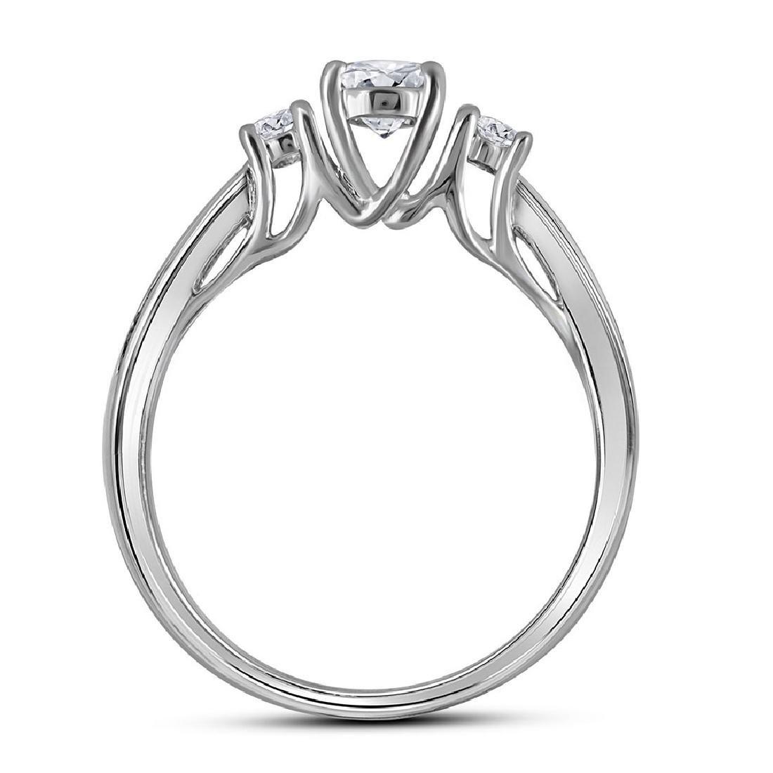 14K White Gold Round 3-Stone Diamond Womens Bridal Enga - 4