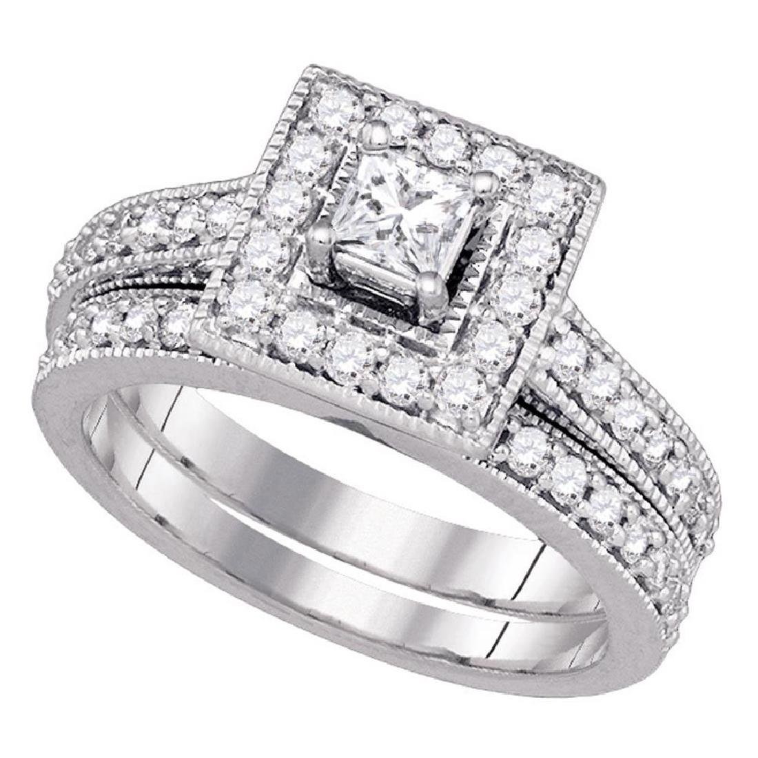 14K White Gold Princess Diamond Halo Bridal Engagement
