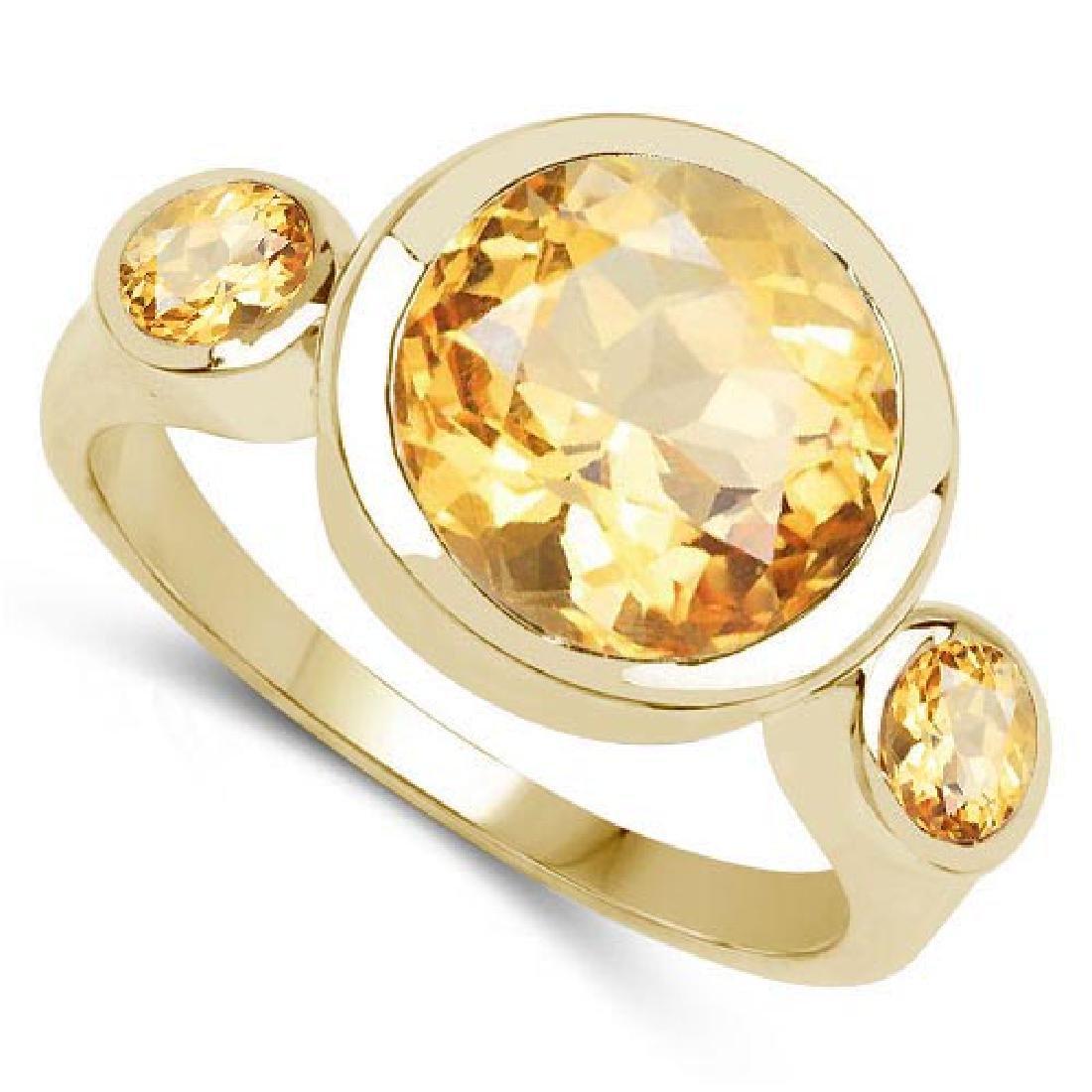 2.60 CTW Genuine Citrine 14K yellow Gold Ring
