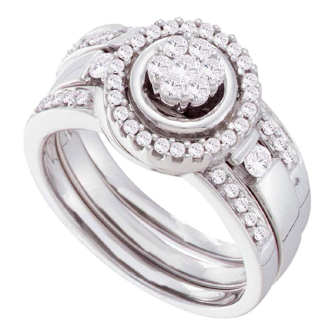 14k White Gold Round Diamond Bridal Wedding Engagement