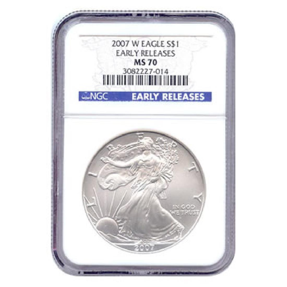 Burnished 2007-W Silver Eagle MS70 Early Release NGC