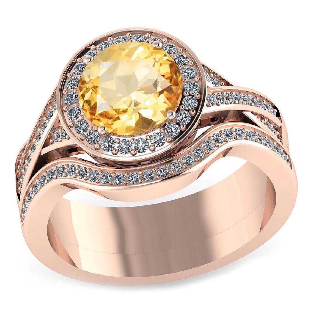 Certified 2.10 CTW Genuine Citrine And Diamond 14K Rose