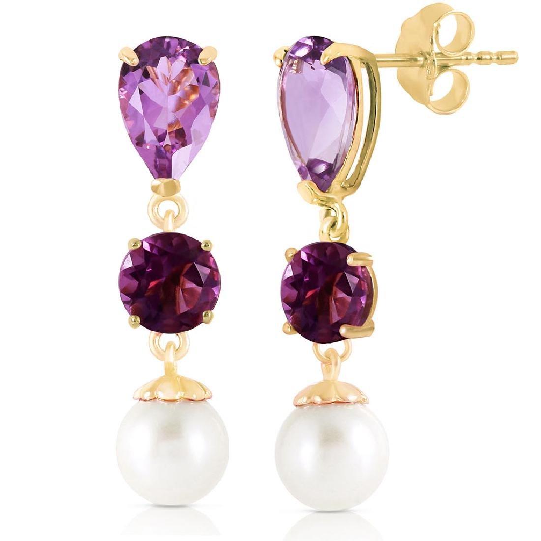 10.5 CTW 14K Solid Gold Chandelier Earrings Amethyst pe