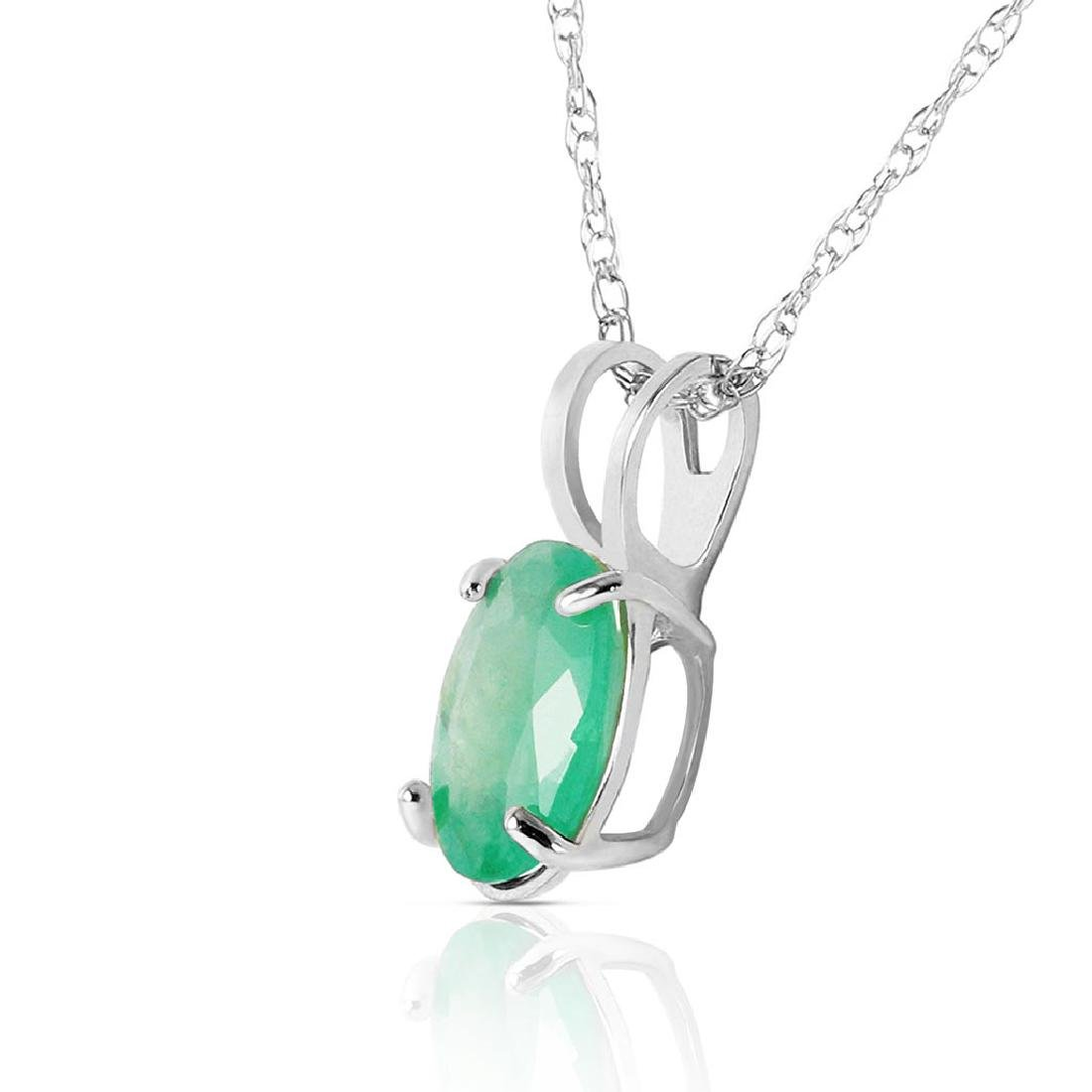 0.75 Carat 14K Solid White Gold Necklace Natural Emeral - 2