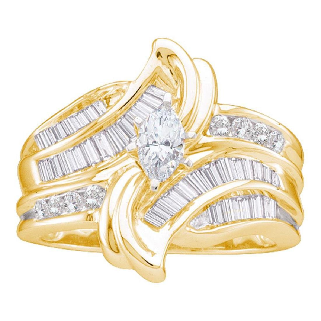 14kt Yellow Gold Marquise Diamond Solitaire Bridal Wedd