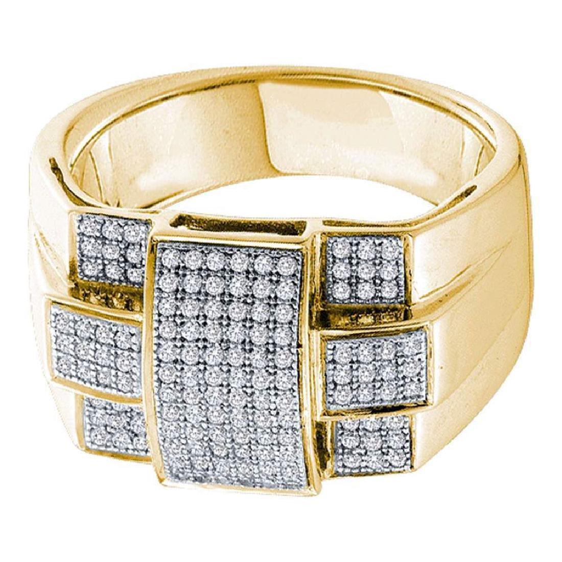 10k Yellow Gold Mens Round Diamond Square Cross Cluster