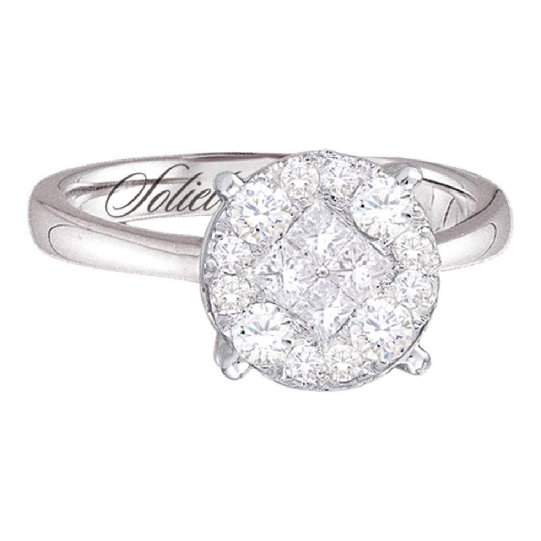14k White Gold Princess Diamond Soleil Bridal Wedding E