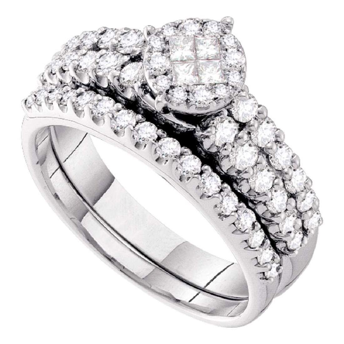14kt White Gold Princess Diamond Bridal Wedding Engagem