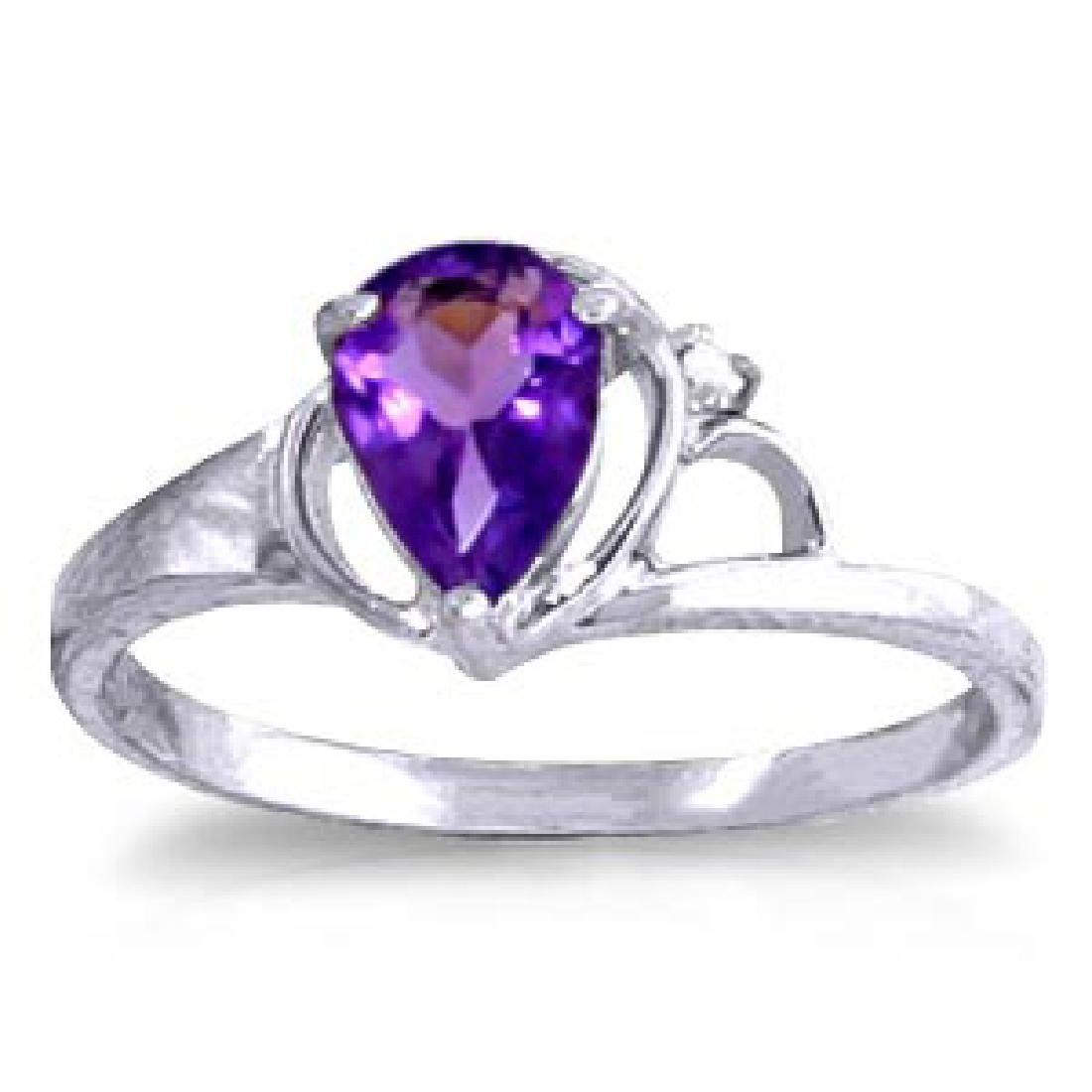 0.66 Carat 14K Solid White Gold Love Is Alive Amethyst