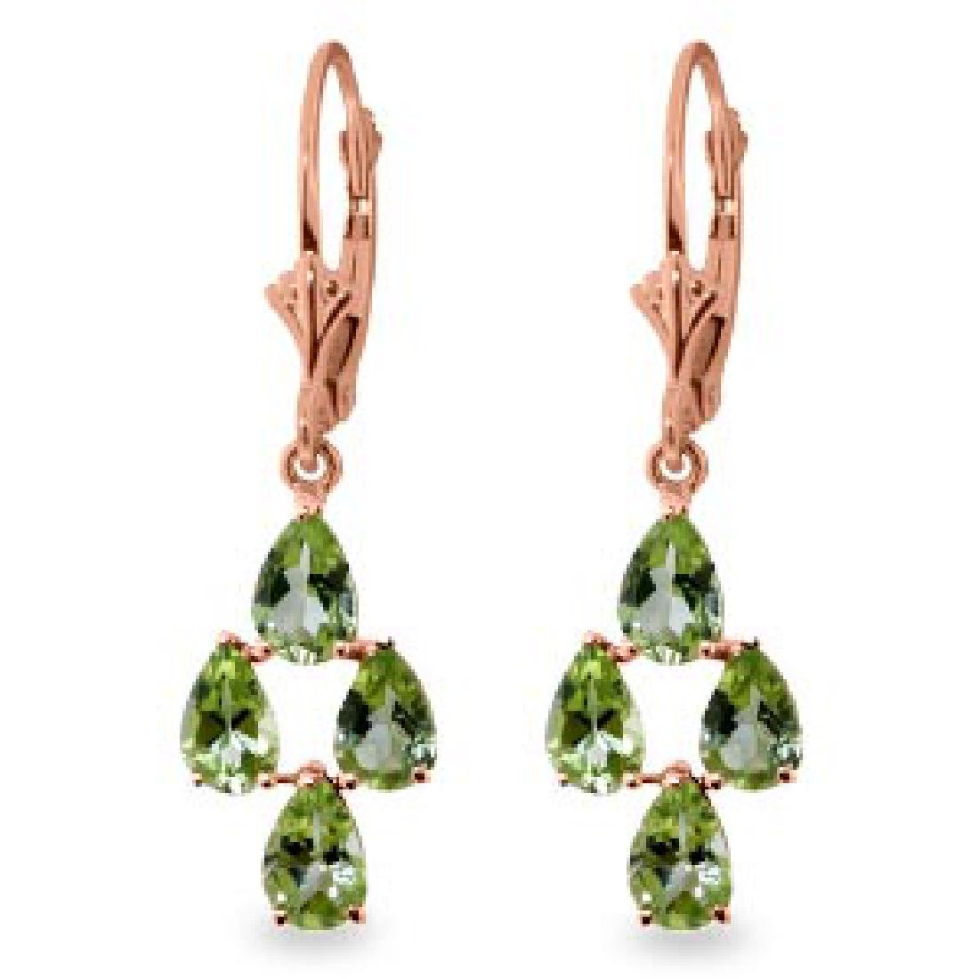 4.5 Carat 14K Solid Rose Gold Peridot Spring Earrings
