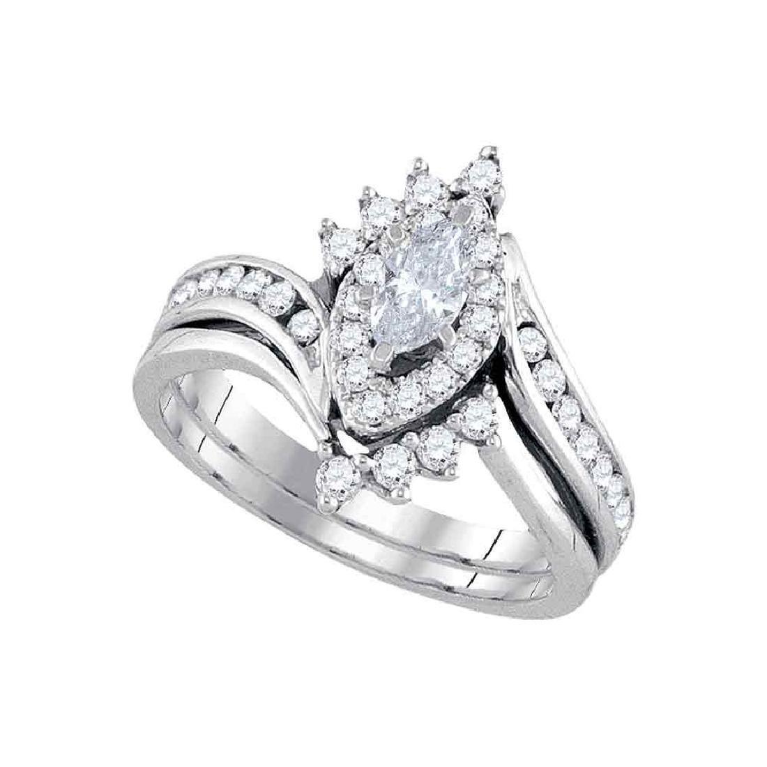 14kt White Gold Marquise Diamond Bridal Wedding Engagem
