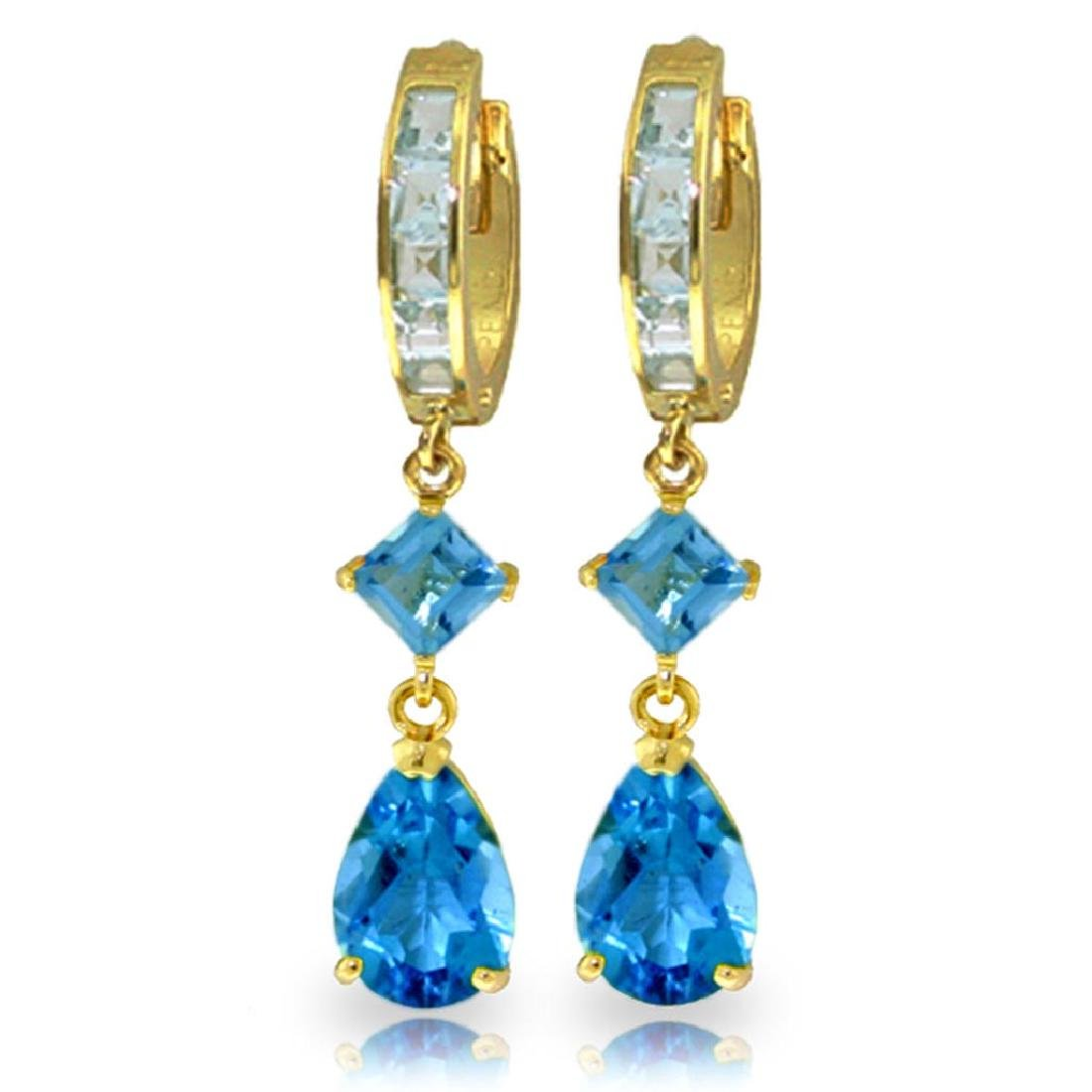 5.62 CTW 14K Solid Gold Temptation Blue Topaz Earrings
