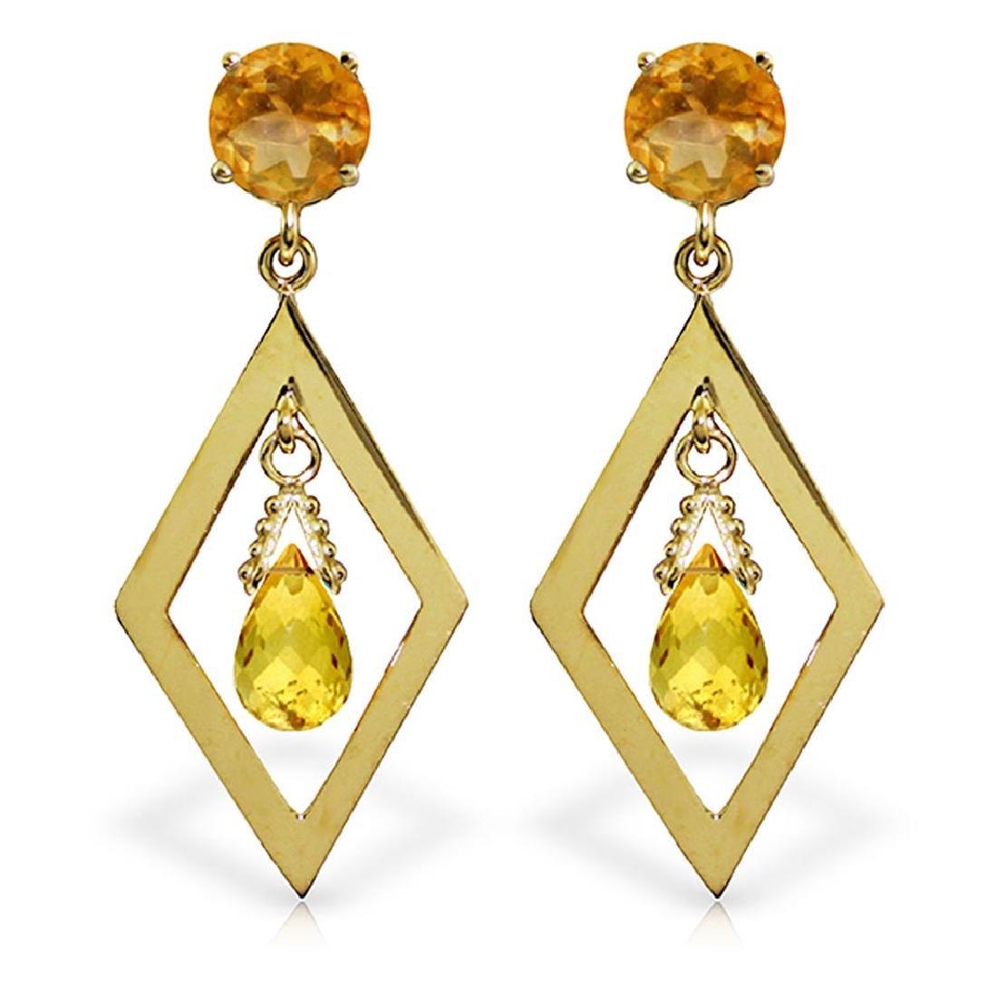 2.4 Carat 14K Solid Gold Euphoria Citrine Earrings