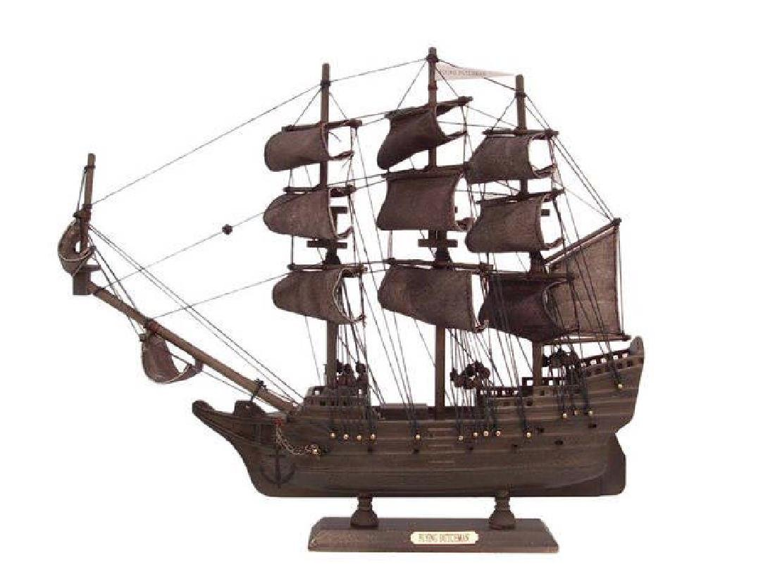 Wooden Flying Dutchman Model Pirate Ship 14in.