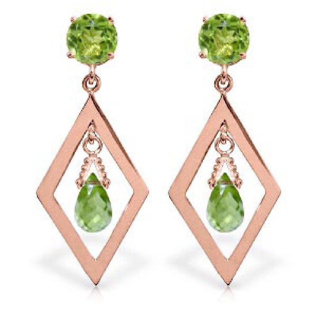 2.4 CTW 14K Solid Rose Gold Peridot Dangling Earrings