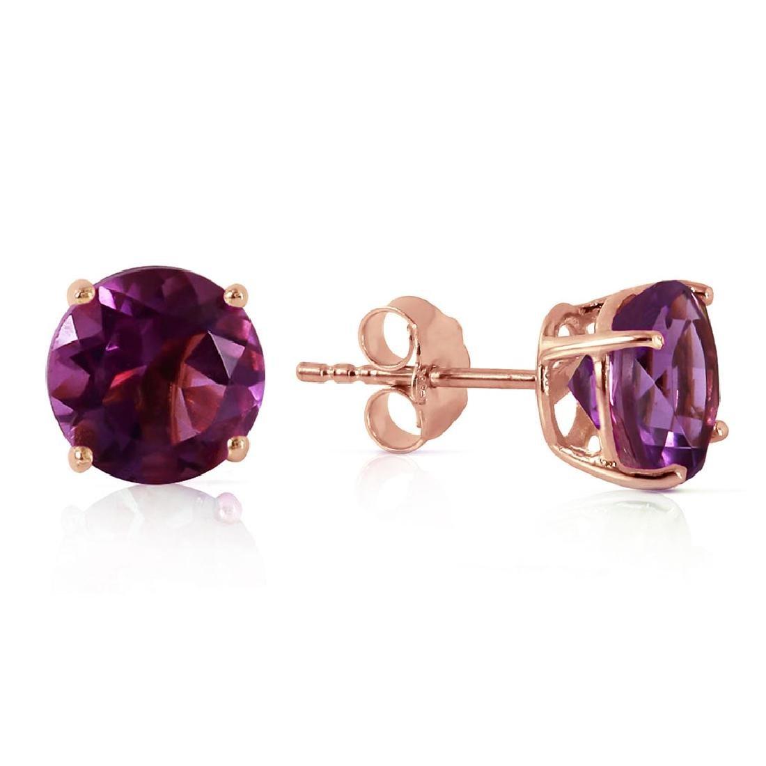 3.1 Carat 14K Solid Rose Gold Anna Amethyst Stud Earrin