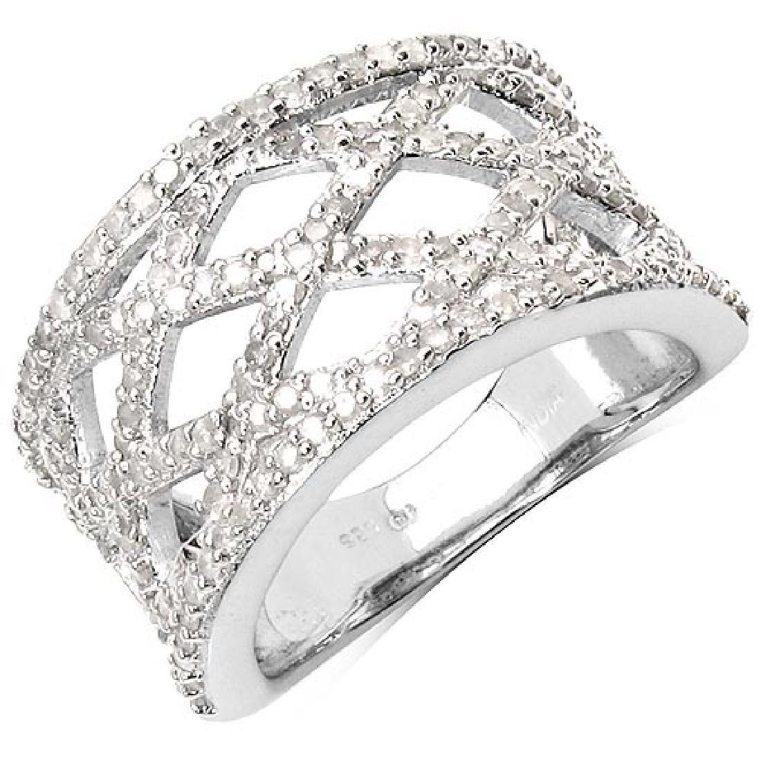 0.92 Carat Genuine White Diamond .925 Sterling Silver R