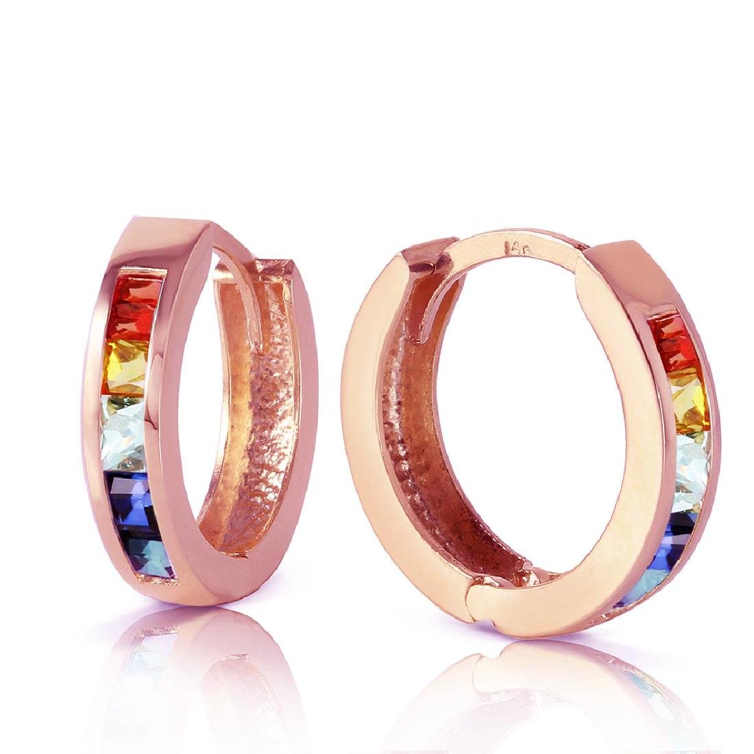 1.3 Carat 14K Solid Rose Gold Hoop Earrings Multicolor