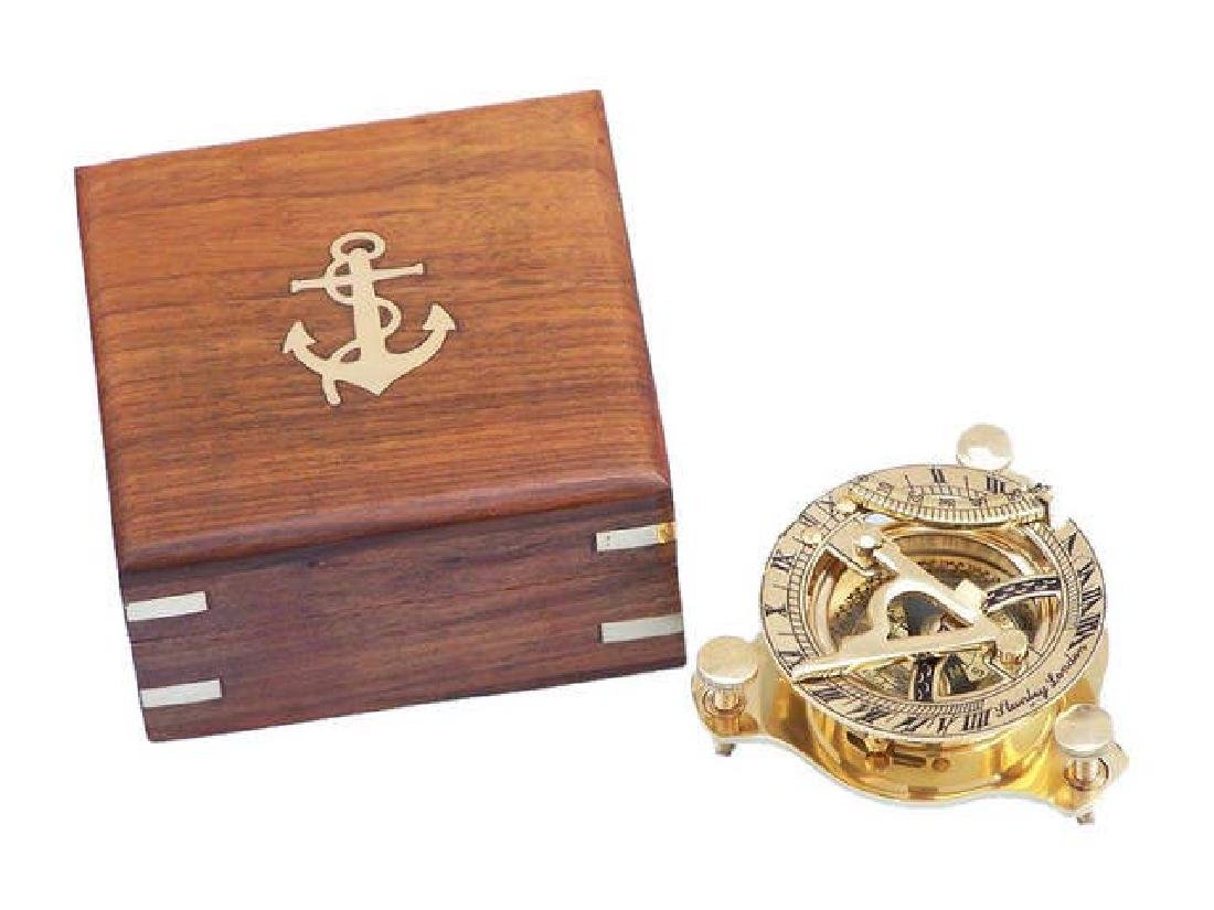 Solid Brass Captains Triangle Sundial Compass w/ Rosewo