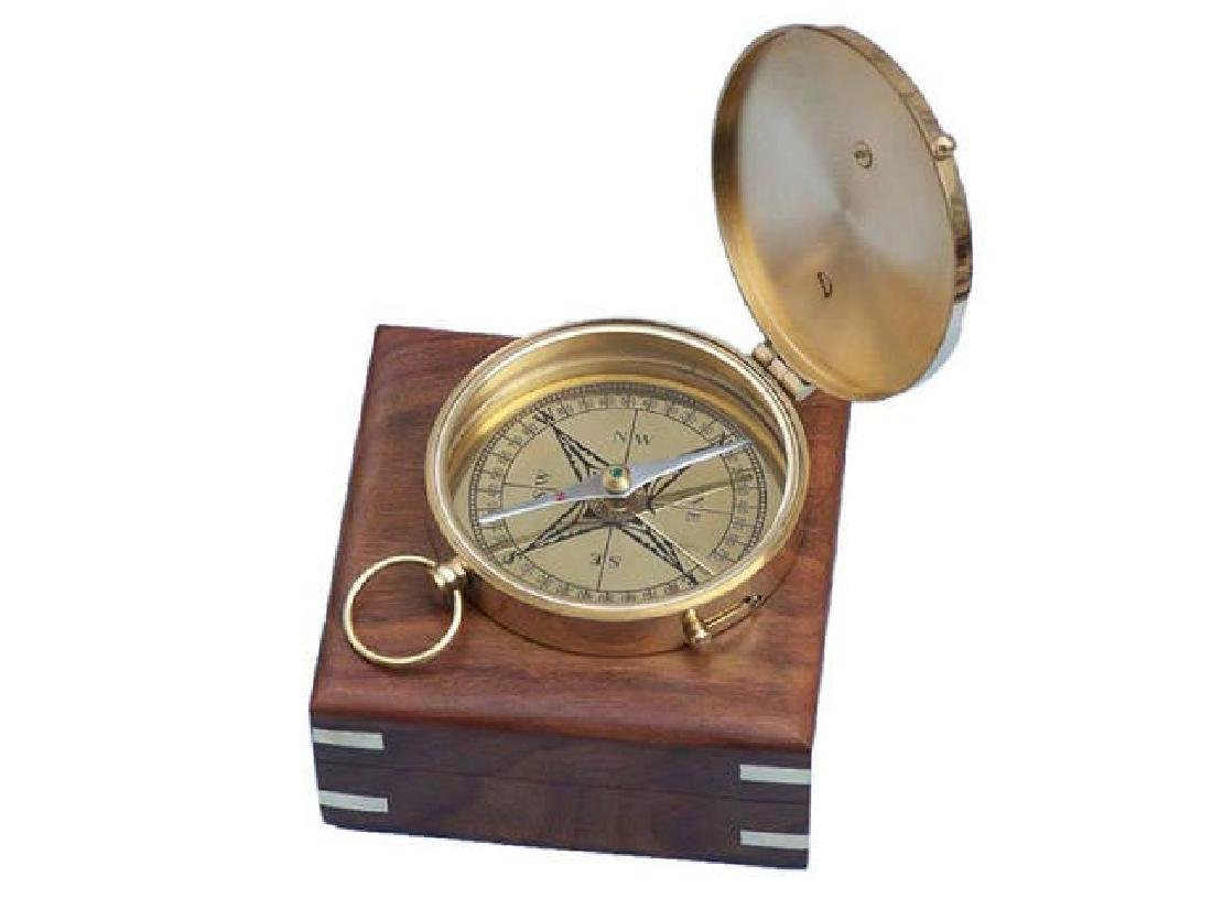 Solid Brass Admirals Sundial Compass w/ Rosewood Box 4i