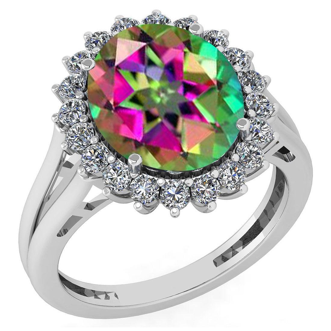 Certified 5.65 Ctw Mystic Topaz And Diamond VS/SI1 Halo