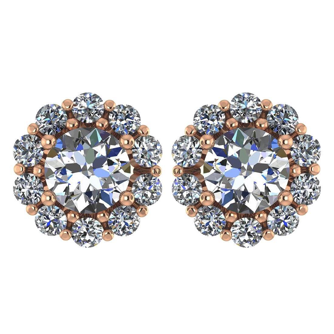 Certified 2.30 Ctw Diamond 14k Rose Gold Halo Stud Earr