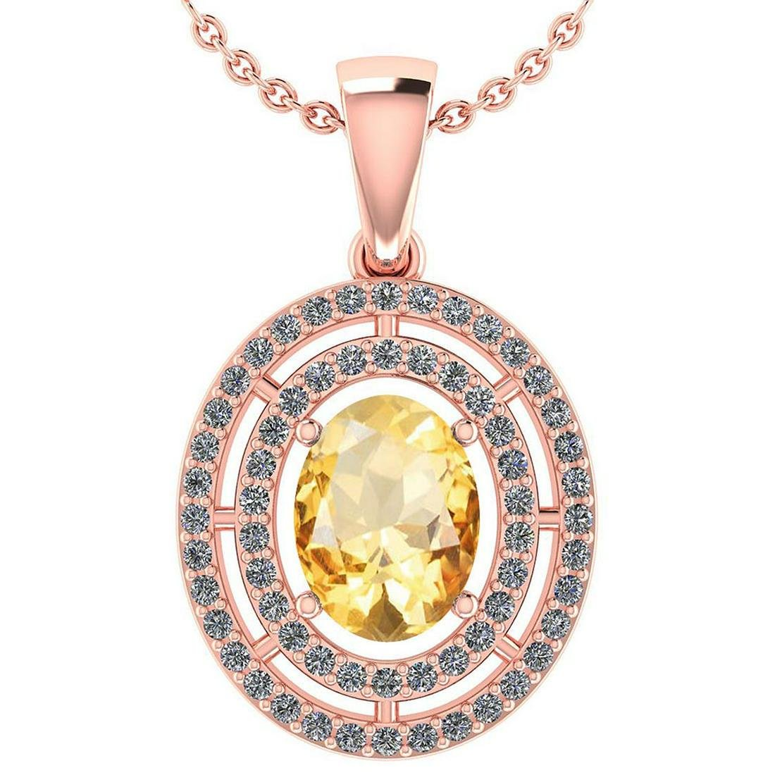 Certified 1.56 CTW Citrine And Diamond 14k Rose Gold Ha