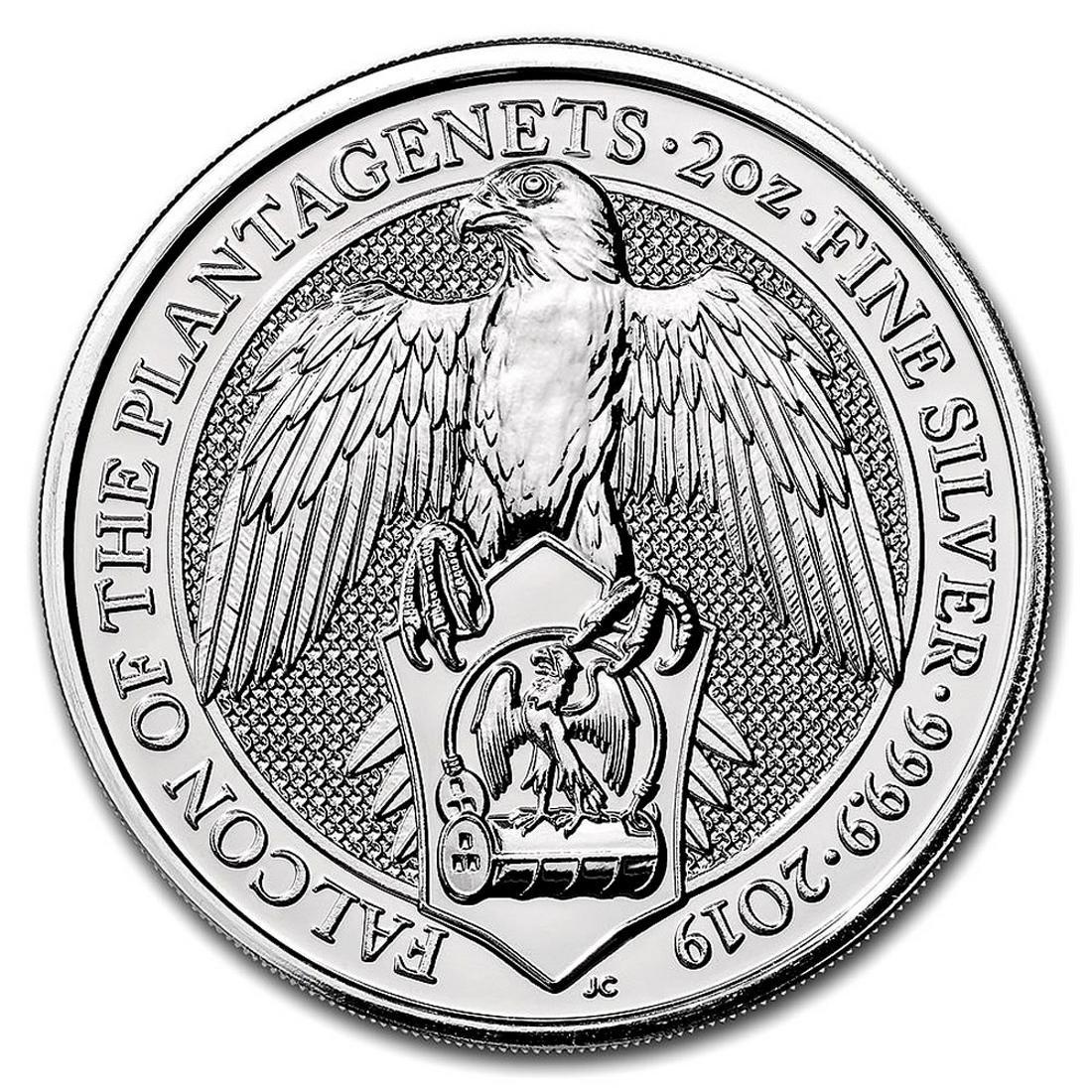 2019 2 oz British Silver Queen?s Beast Falcon Coin (BU)