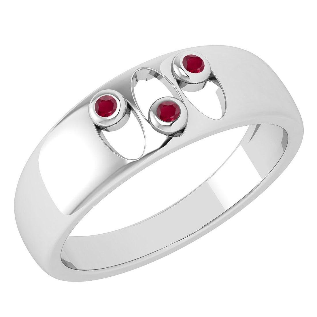 Certified 0.04 Ctw Ruby Wedding Style Halo Bands 14k Wh